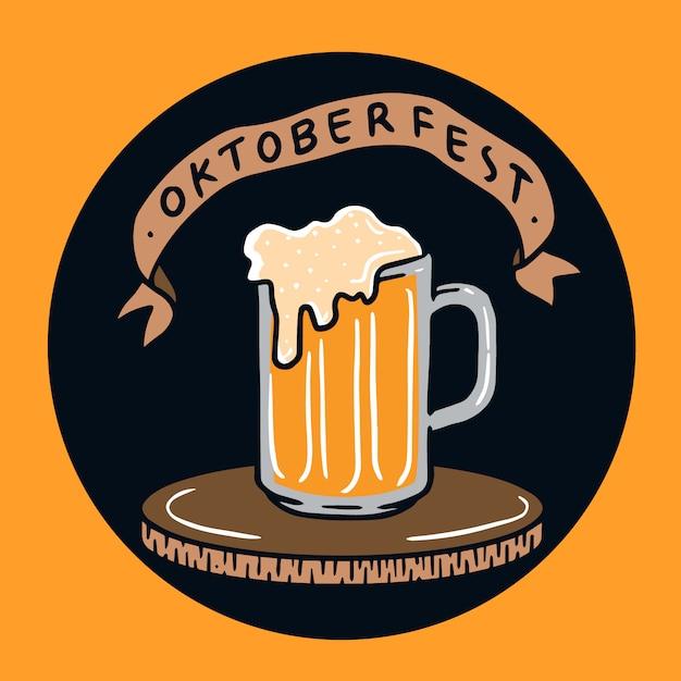 Hand gezeichnete oktoberfest bierglasillustration Premium Vektoren