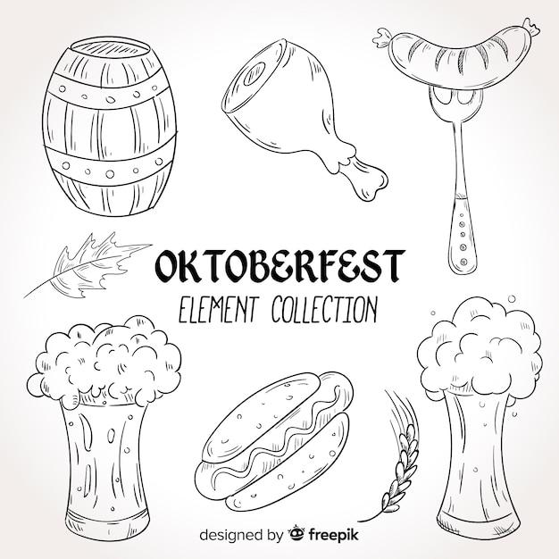 Hand gezeichnete oktoberfest elementsammlung Kostenlosen Vektoren