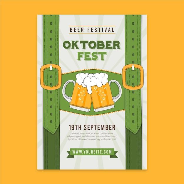 Hand gezeichnete oktoberfest plakatschablone Kostenlosen Vektoren