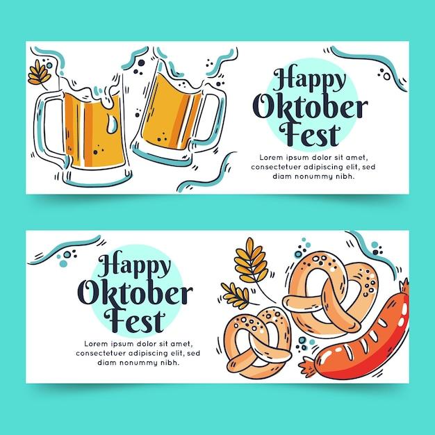 Hand gezeichnete oktoberfestfahnen mit bier Premium Vektoren