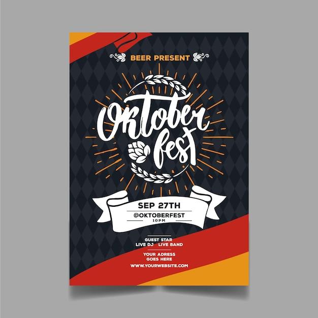Hand gezeichnete oktoberfestplakatschablone mit kreativem schriftzug Kostenlosen Vektoren
