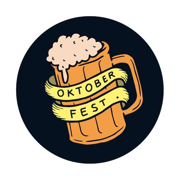 Hand gezeichnete orange bierglasillustration oktober-festes Premium Vektoren