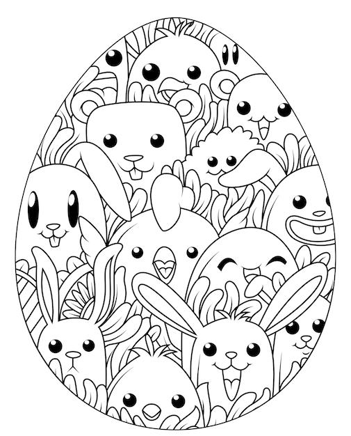 Hand gezeichnete Ostereier für Malbuch   Download der Premium Vektor