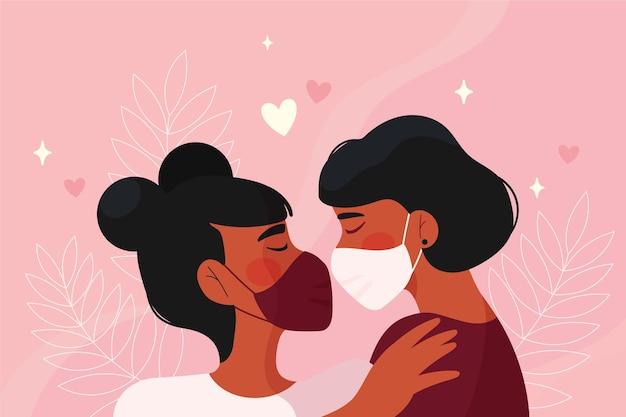 Hand gezeichnete paare, die mit covid-maskenillustration küssen Kostenlosen Vektoren