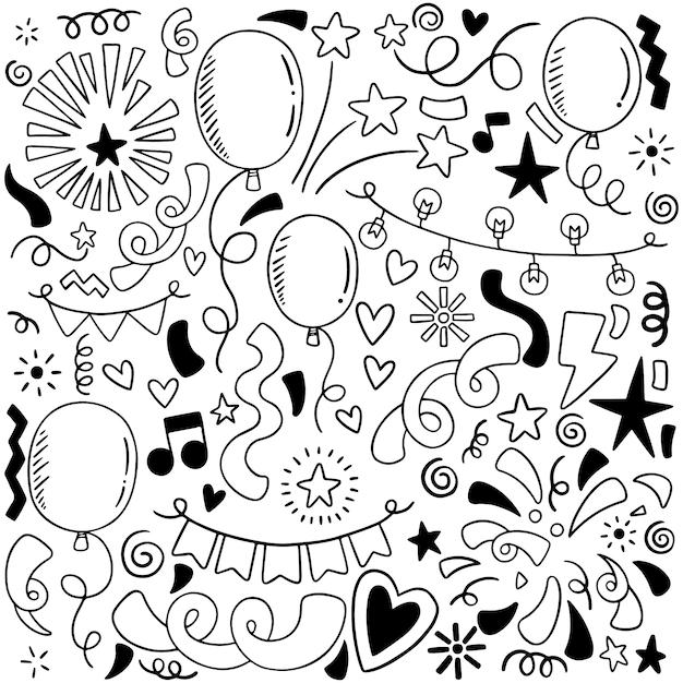 Hand gezeichnete partei kritzeln alles gute zum geburtstag verzierungshintergrund-musterillustration Premium Vektoren