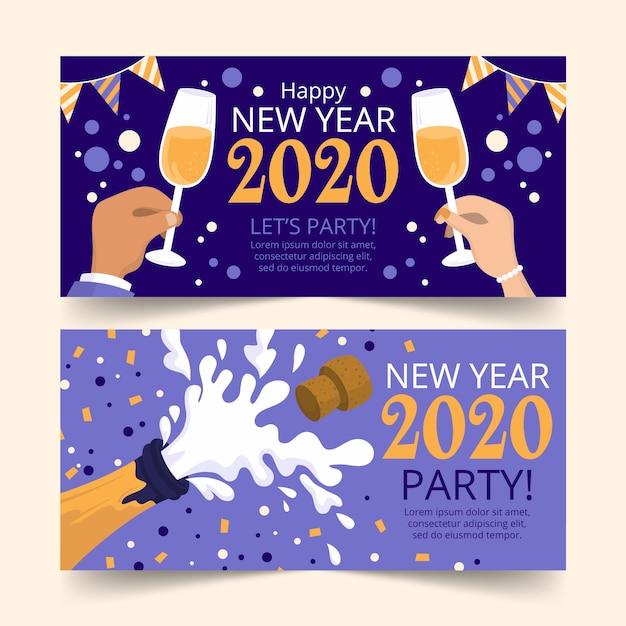 Hand gezeichnete partyfahnen des neuen jahres 2020 Kostenlosen Vektoren