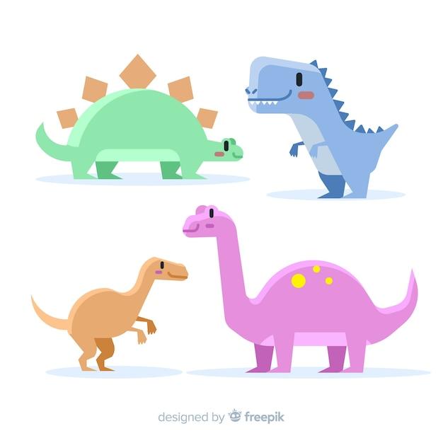 Hand gezeichnete pastellfarbdinosauriersammlung Kostenlosen Vektoren