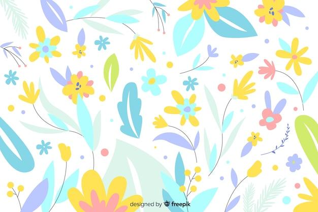 Hand gezeichnete pastellfarbe blüht hintergrund Kostenlosen Vektoren