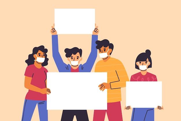 Hand gezeichnete personen in medizinischen masken mit plakaten Kostenlosen Vektoren