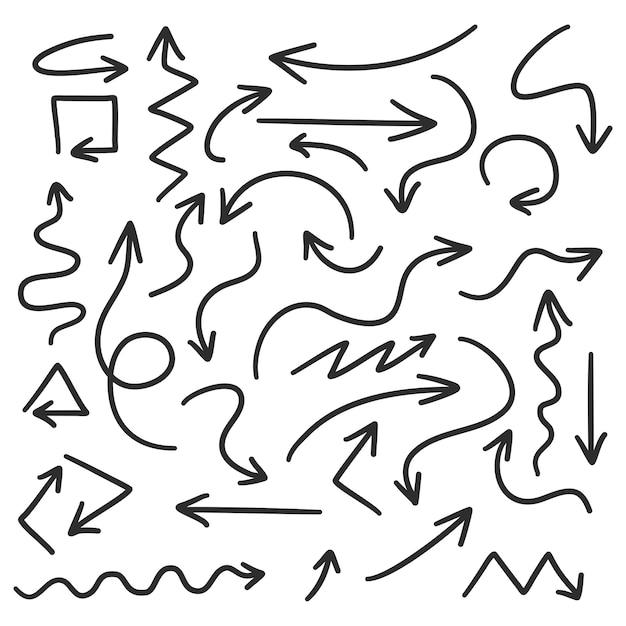 Hand gezeichnete pfeile auf weißem hintergrund Premium Vektoren