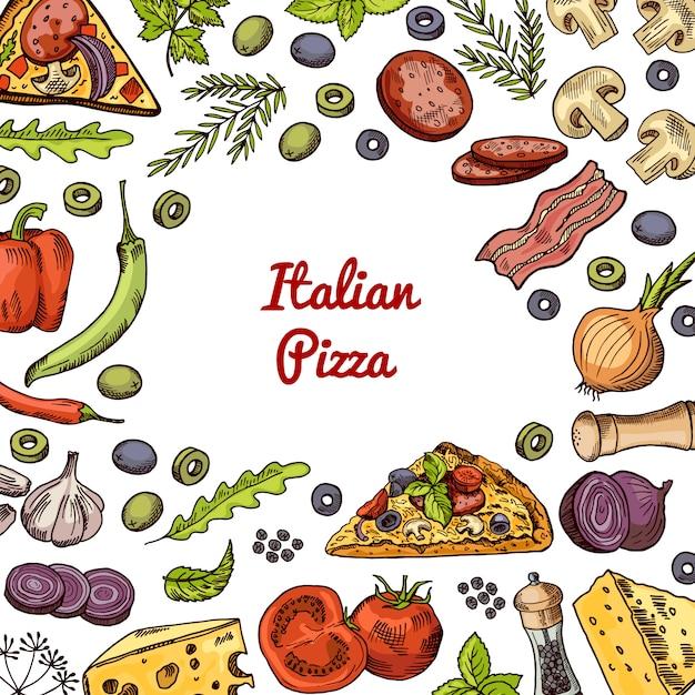 Hand gezeichnete pizza ingridients und gewürze mit leerem raum in der mitte für text. Premium Vektoren