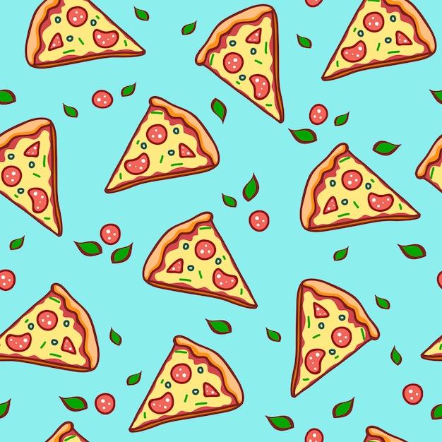 Hand gezeichnete pizza. nahtloses muster der gekritzelpizza Premium Vektoren