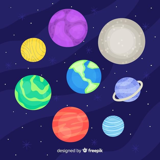 Hand gezeichnete planetensammlung Kostenlosen Vektoren