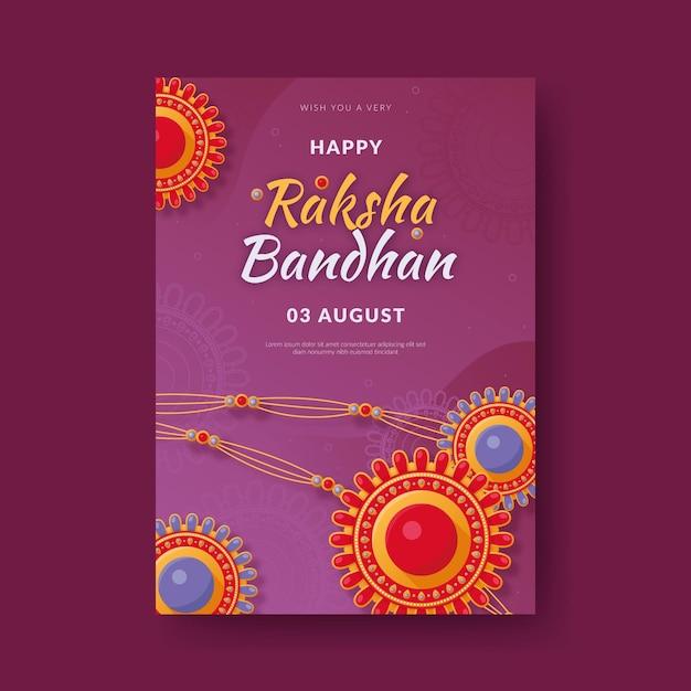 Hand gezeichnete raksha bandhan grußkarte Kostenlosen Vektoren