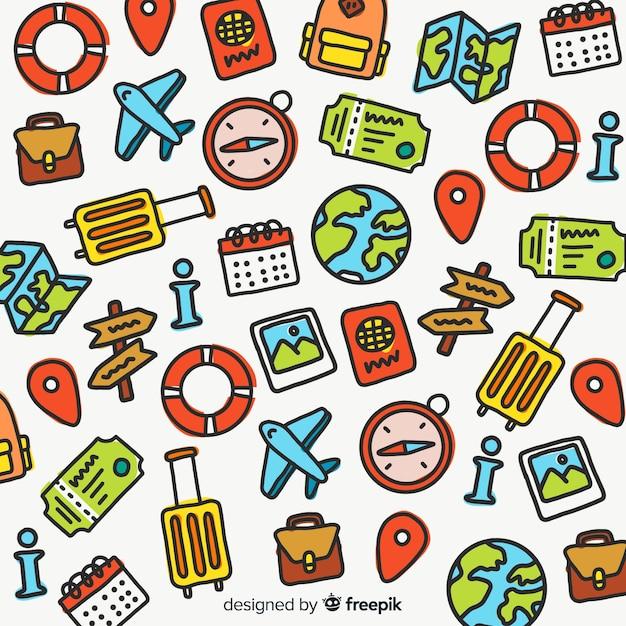 Hand gezeichnete reise Kostenlosen Vektoren