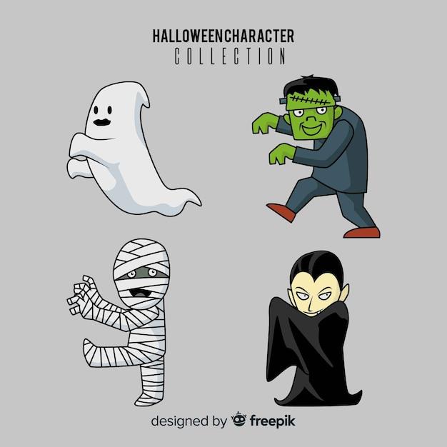 Hand gezeichnete reizende halloween-charaktersammlung Kostenlosen Vektoren