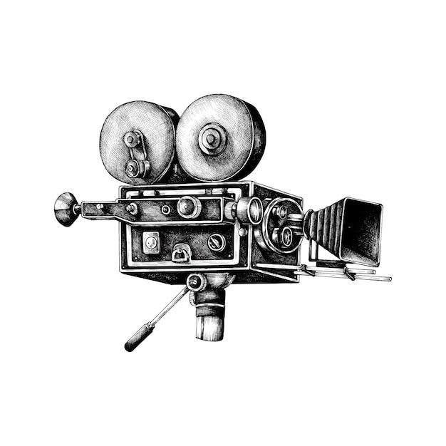 Hand gezeichnete retro filmkamera Kostenlosen Vektoren