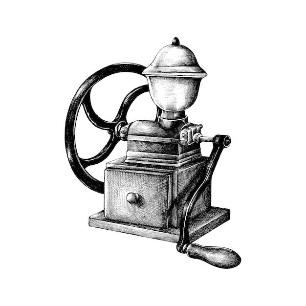 Hand gezeichnete retro kaffeemühle Kostenlosen Vektoren