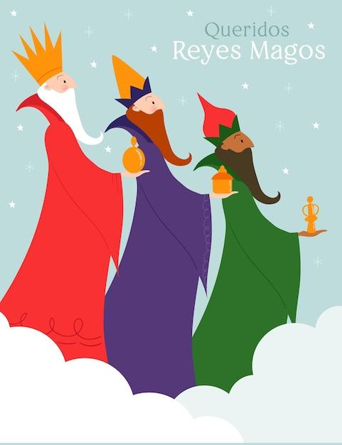 Hand gezeichnete reyes magos Kostenlosen Vektoren