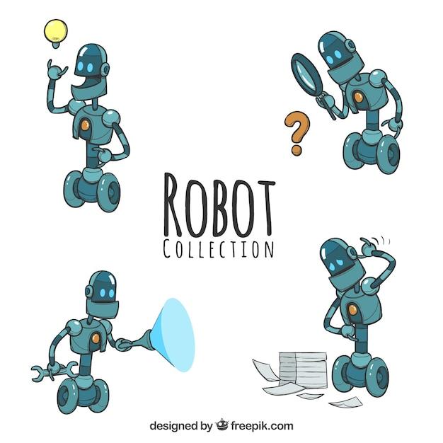 Hand gezeichnete robotersammlung mit verschiedenen haltungen Kostenlosen Vektoren