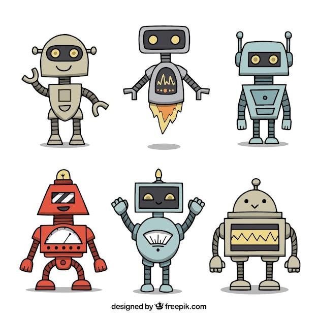 Hand gezeichnete roboterzeichensammlung Kostenlosen Vektoren