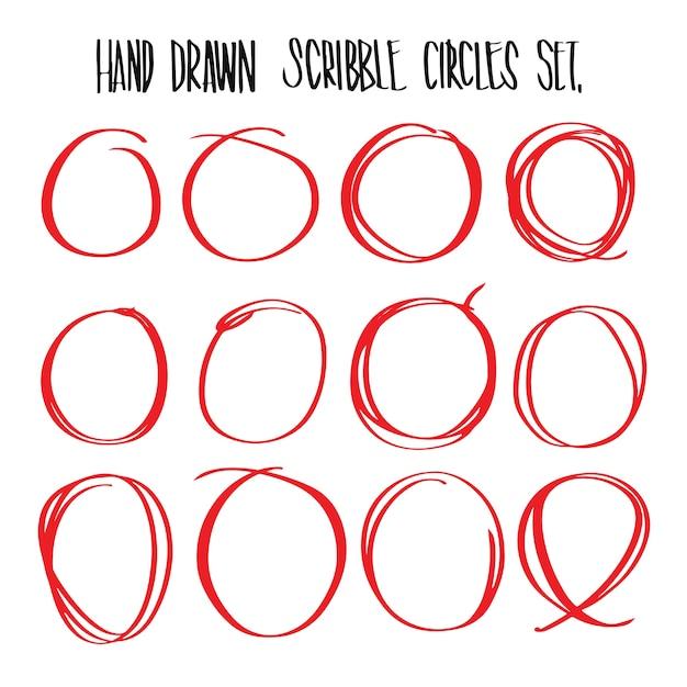 Hand gezeichnete rote scribble kreise, illustration vektor für infografische oder andere verwendungen. Premium Vektoren