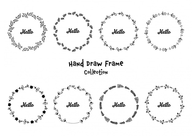 Hand gezeichnete runde mit blumenrahmen eingestellt Premium Vektoren
