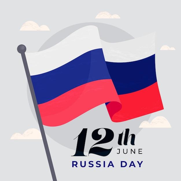 Hand gezeichnete russische tagesflagge auf einer stange Premium Vektoren
