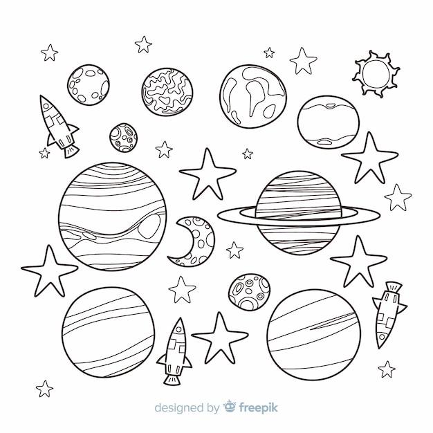 Hand gezeichnete sammlung planeten in der gekritzelart Kostenlosen Vektoren