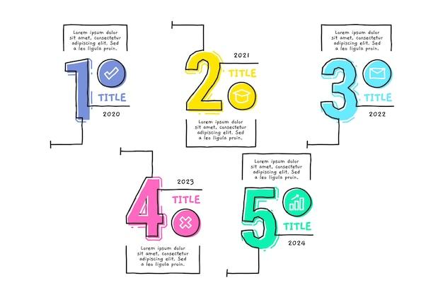 Hand gezeichnete schablonenzeitachse infographic Kostenlosen Vektoren