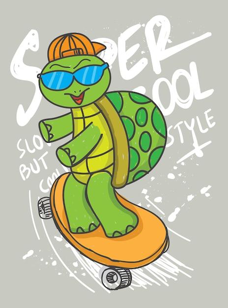 Hand gezeichnete schildkröte mit skateboard für t-shirt Premium Vektoren