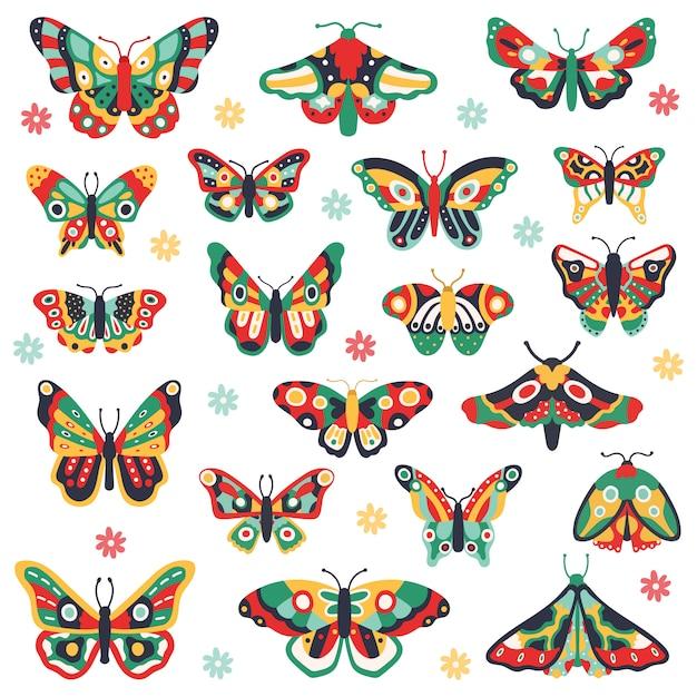 Hand gezeichnete schmetterlinge. kritzele bunt fliegenden schmetterling, niedliche zeichnungsinsekten. blumenfeder papillon illustration ikonen gesetzt. schmetterlingsinsektenzeichnung, blumenmuster auf flügel Premium Vektoren