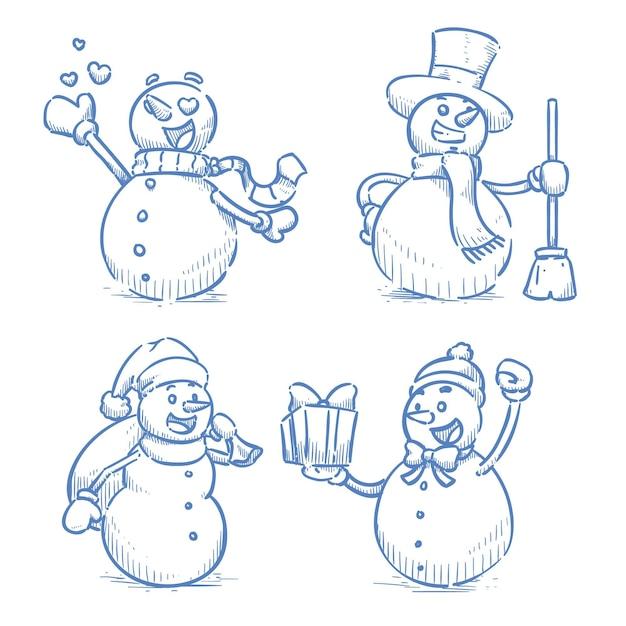 Hand gezeichnete schneemann-zeichensammlung Kostenlosen Vektoren