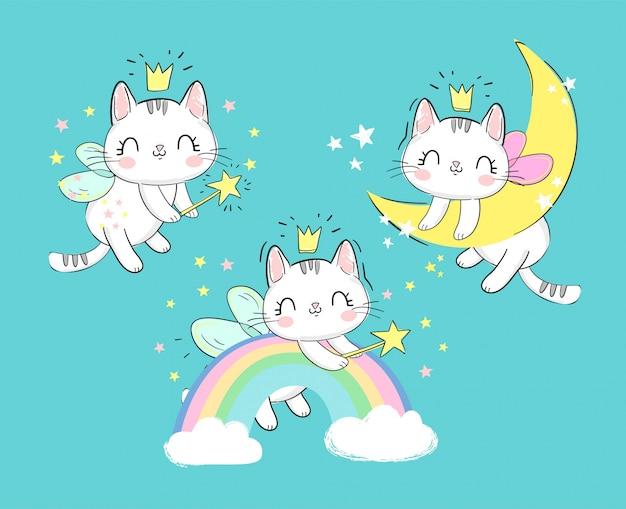 Hand gezeichnete set cute magic katzen mit flügeln und zauberstab. märchenhaftes charakterkätzchen schläft auf dem mond und auf dem regenbogen. Premium Vektoren