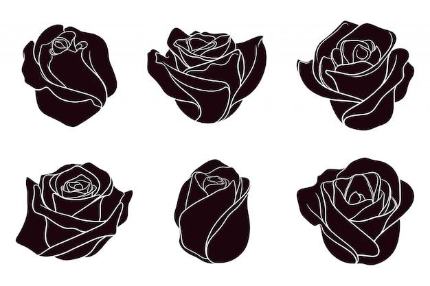 Hand gezeichnete silhouette der rosen Premium Vektoren