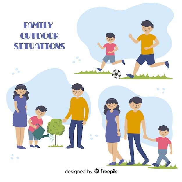 Hand gezeichnete situationssammlung der familie im freien Kostenlosen Vektoren