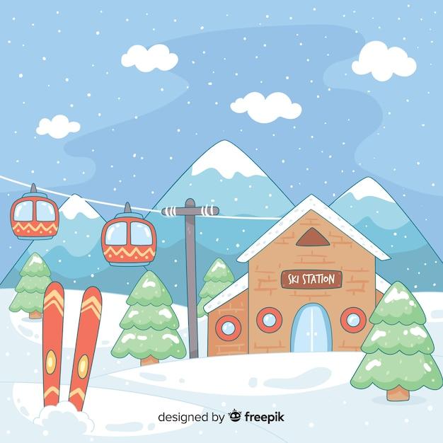 Hand gezeichnete skistationillustration Kostenlosen Vektoren