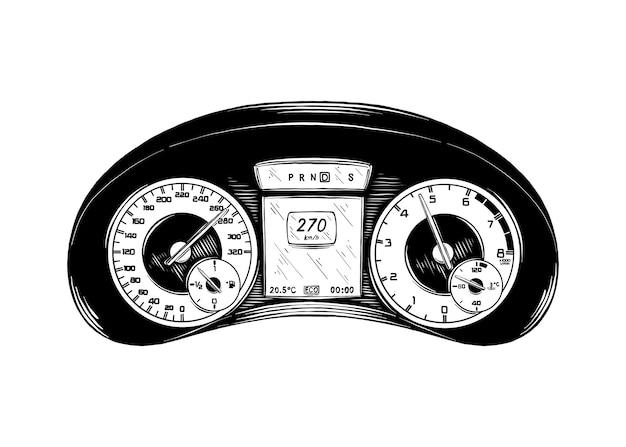 Hand gezeichnete skizze der automobilplatte im schwarzen Premium Vektoren