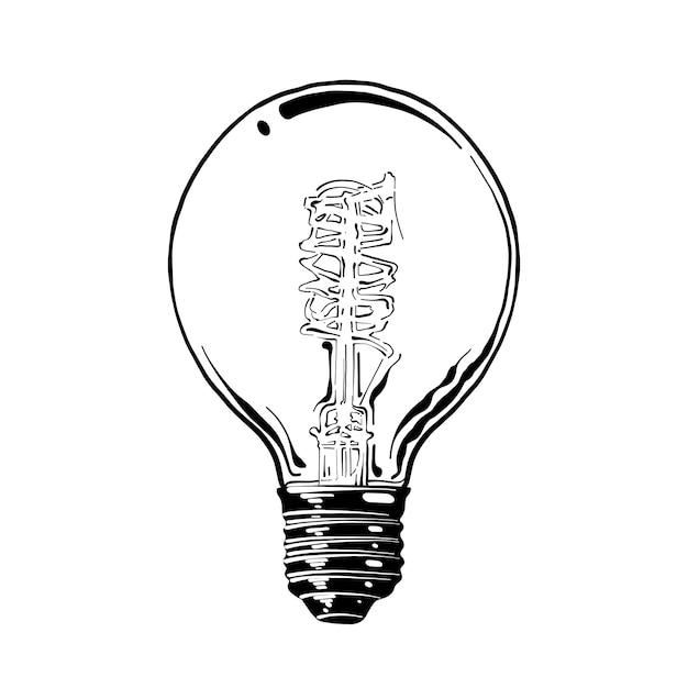 Hand gezeichnete skizze der glühlampe im schwarzen Premium Vektoren