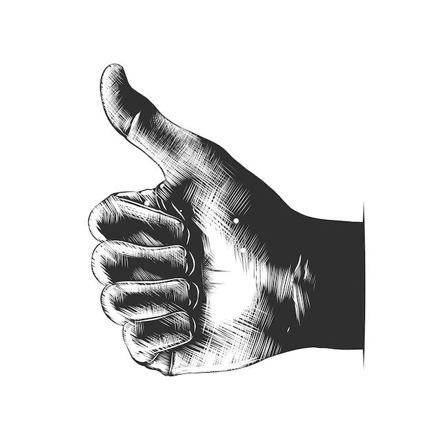 Hand gezeichnete skizze der hand mögen im monochrom Premium Vektoren