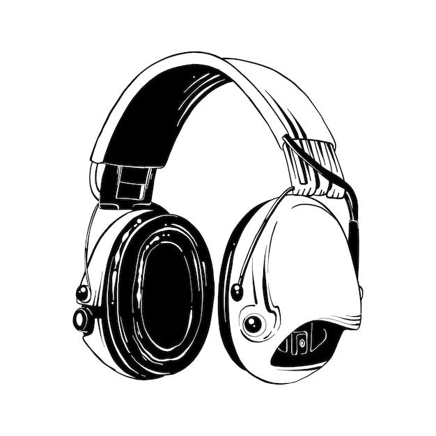 Hand gezeichnete skizze der kopfhörer im schwarzen Premium Vektoren