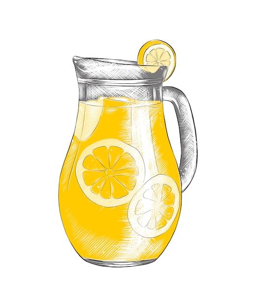 Hand gezeichnete skizze der limonade im krug Premium Vektoren