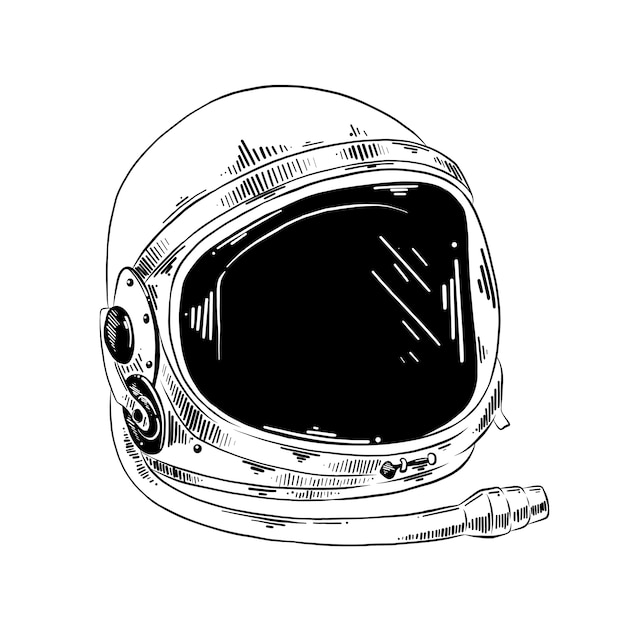 Hand gezeichnete skizze des astronautensturzhelms Premium Vektoren