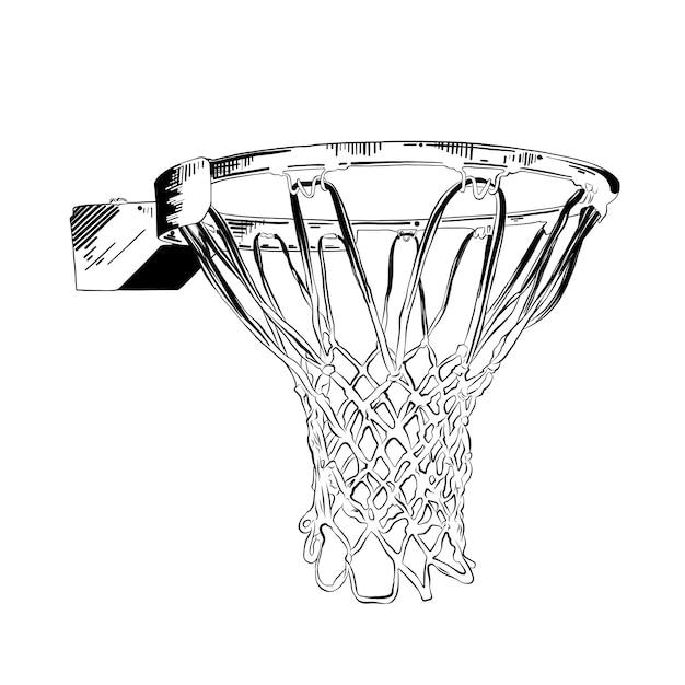 Hand gezeichnete skizze des basketballrings im schwarzen Premium Vektoren