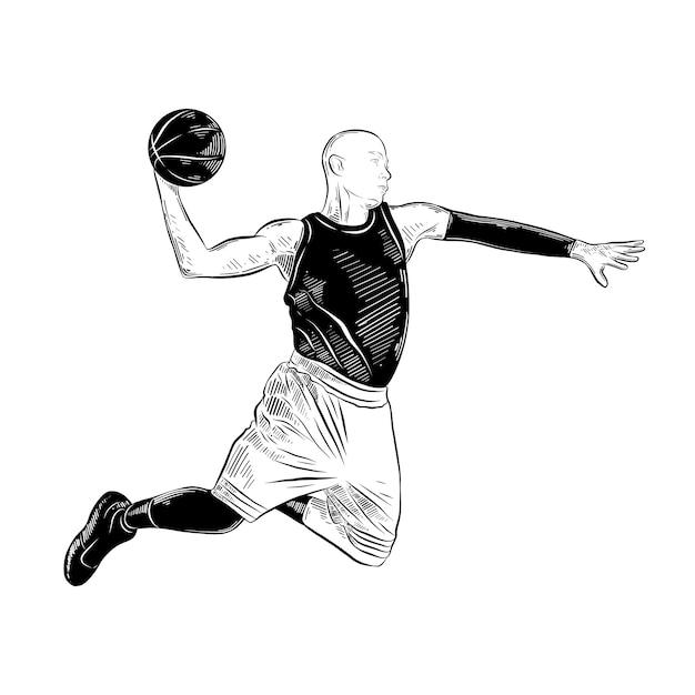 Hand gezeichnete skizze des basketballspielers im schwarzen Premium Vektoren