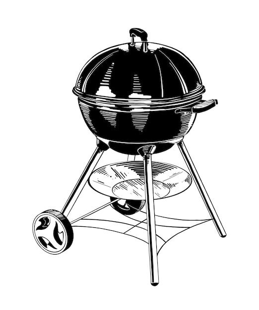 Hand gezeichnete skizze des grills im schwarzen Premium Vektoren
