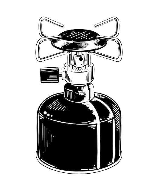 Hand gezeichnete skizze des kampierenden gasofens Premium Vektoren