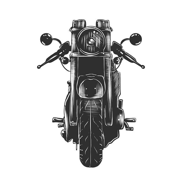 Hand gezeichnete skizze des motorrads im monochrom Premium Vektoren