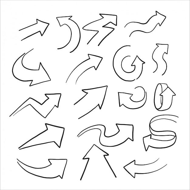 Hand gezeichnete skizze des pfeilsatzes Premium Vektoren