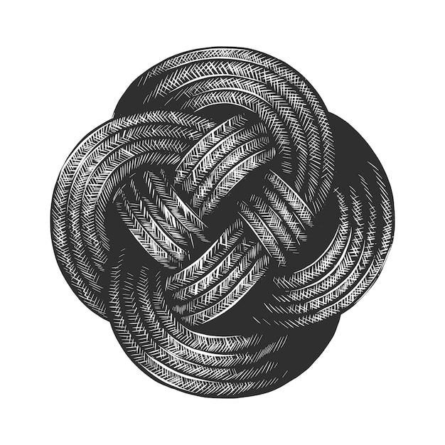 Hand gezeichnete skizze des seilknotens im monochrom Premium Vektoren